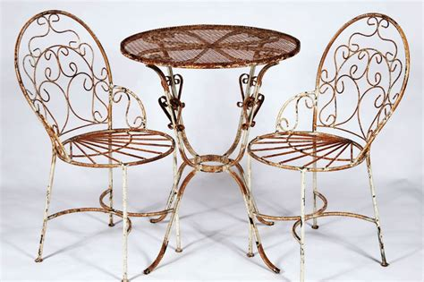 2 Wrought Iron Ice Cream Chairs And Table Set Metal Metal Patio Table And Chairs