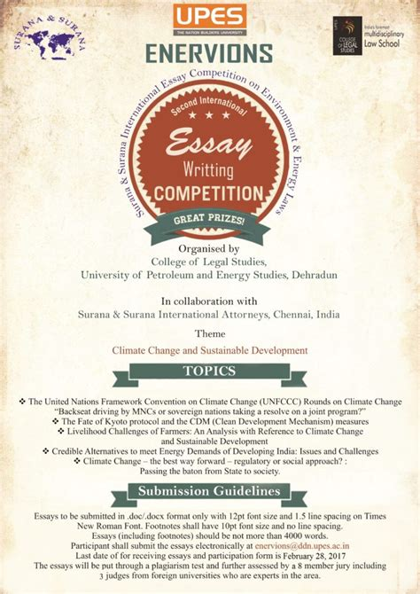 International Essay Writing Competitions by Upes 2nd Enervions International Essay Writing Competition