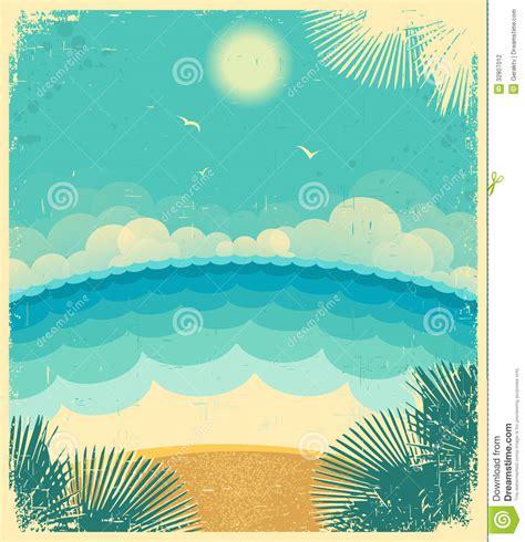 imagenes vintage mar paisaje marino del vintage fondo del vector con el mar