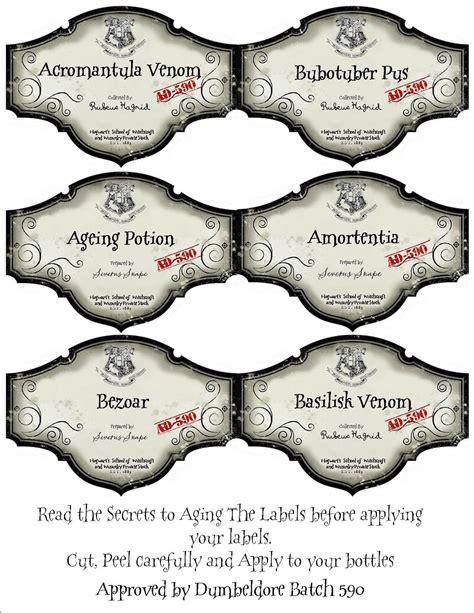 harry potter potion labels templates harry potter labels azkaban harry potter