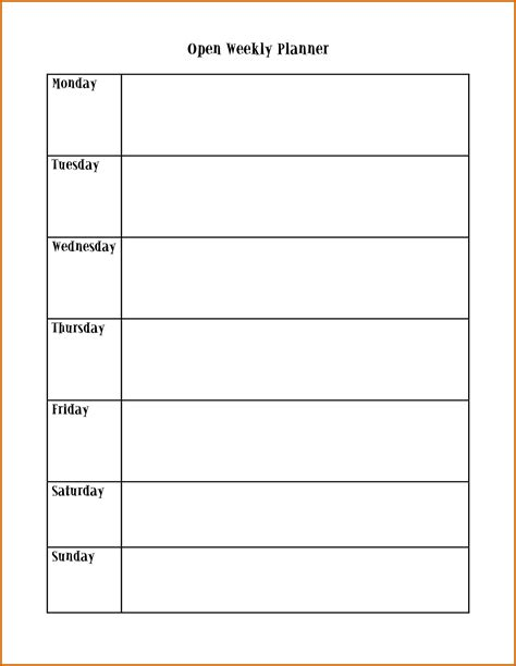 monday through friday calendar template blank weekly planner printable calendar template 2016