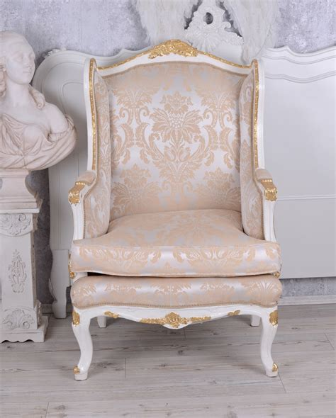 shabby chic armchair wingchair antique baroque armchair shabby chic cream gold