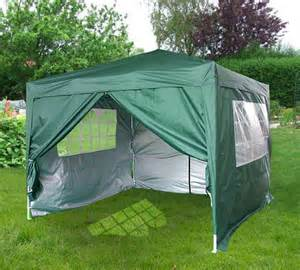Enclosed Gazebo Tent by 3m X 3m Flat Roof Pop Up Gazebo With Sides Green