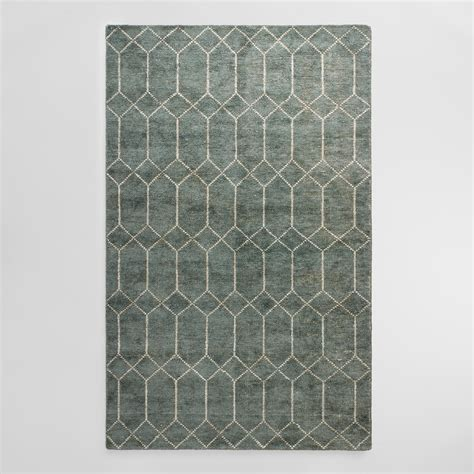 floor rug blue green tufted cotton and viscose soren area rug world market