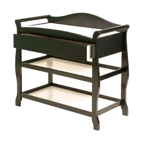 Black Changing Tables Stork Craft Aspen Sleigh W Drawer Black Changing Table Ebay