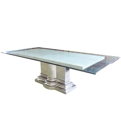 brueton column base glasstop and marble dining table for