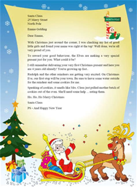 Letter From Santa Free Crna Cover Letter Free Santa Reply Letter Template