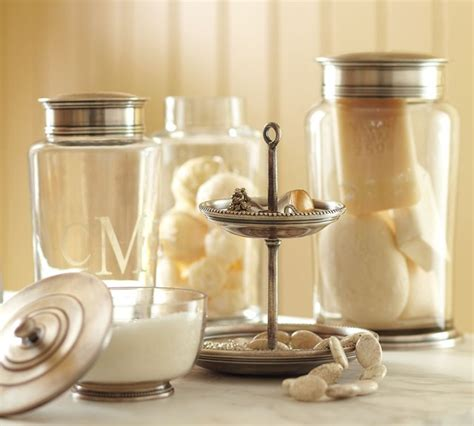 Bathroom Storage Jars Quinn Beaded Bath Accessories Apothecary Jars Contemporary Bathroom Canisters By Pottery Barn