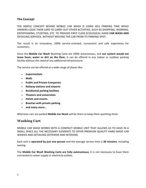 Business Letter For Car Wash The Mobile Car Wash