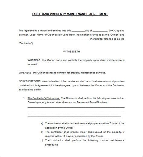 maintenance contract template free 12 maintenance contract templates free word pdf