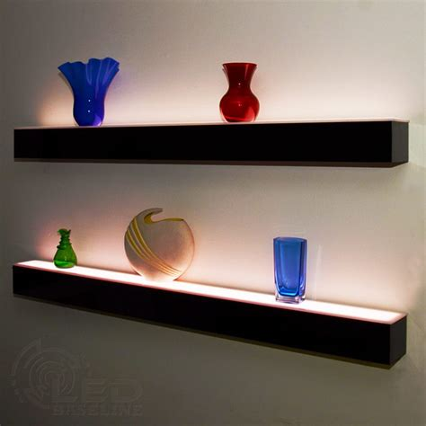 floating shelves with led lights 1 tier led floating shelf led lighted floating bar