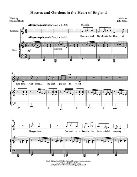 white houses piano sheet music houses gardens in the heart of england for soprano piano sheet music by john