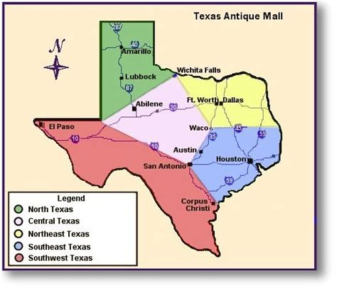 texas map with regions texas regions map