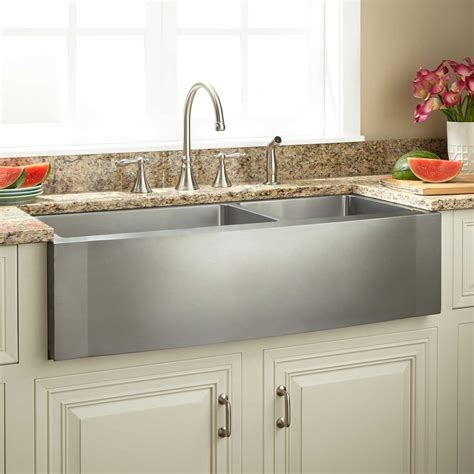double bowl apron sink 42 quot optimum 60 40 offset double bowl stainless steel