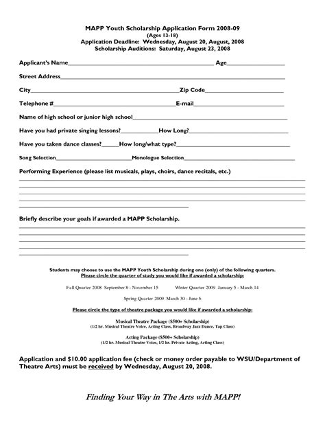 application for scholarship template 4 best images of free printable scholarship application