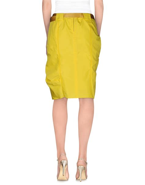 marc knee length skirt in yellow lyst