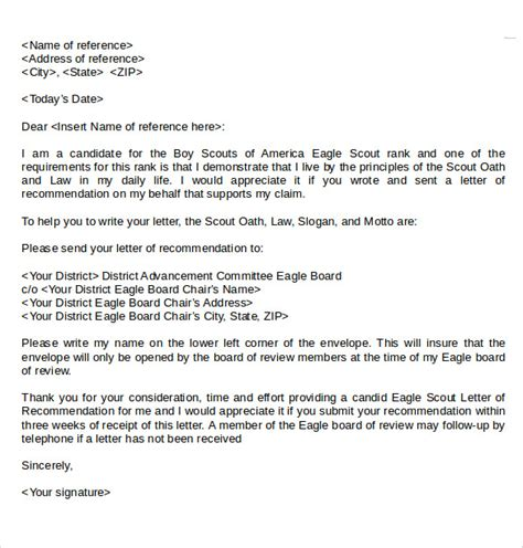 Recommendation Letter Template For Eagle Scout Sle Eagle Scout Letter Of Recommendation 9 Documents In Pdf Word