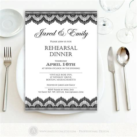 rehearsal dinner invitation template rehearsal dinner invitation printable black lace weddings