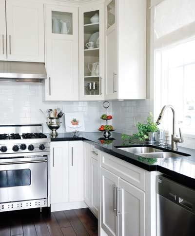 Kitchen With Black And White Cabinets Black Countertops And White Cabinets Traditional Kitchen Style At Home