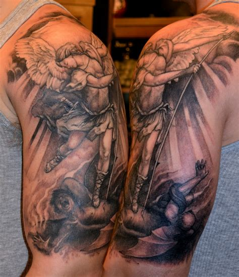 st michael sleeve tattoo designs tattoos by trerrotola st michael