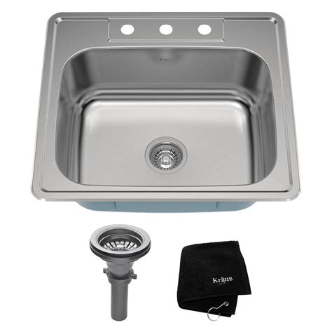 Kraus Drop In Stainless Steel 25 In 3 Hole Single Bowl Kitchen Sink Kit Ktm25 The Home Depot Kraus Sink Templates
