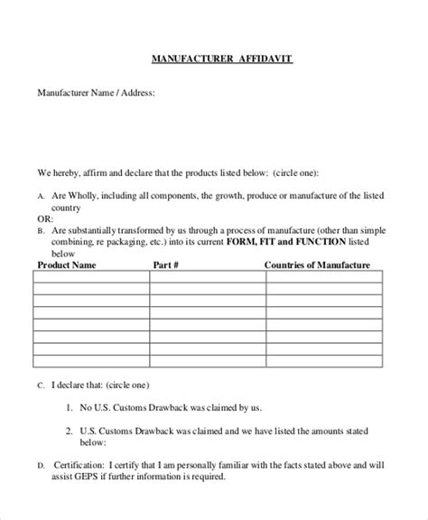 Sle Blank Affidavit Form 9 Free Documents In Pdf Manufacturer S Affidavit Template Fillable