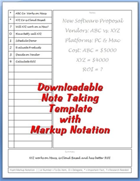 Note Taking Template Personal Success Today Meeting Note Taking Template