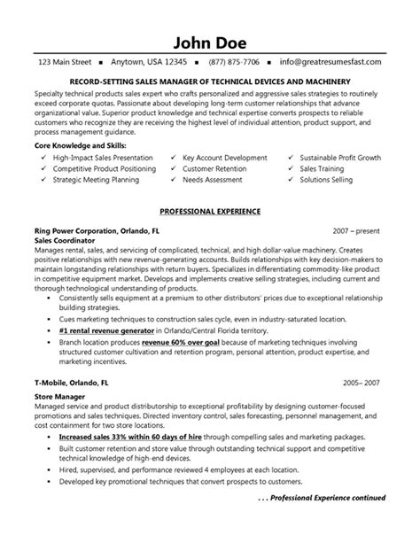 coo resume sle sales marketing resume