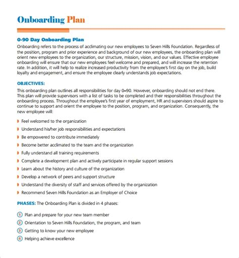 sample onboarding plan template   documents
