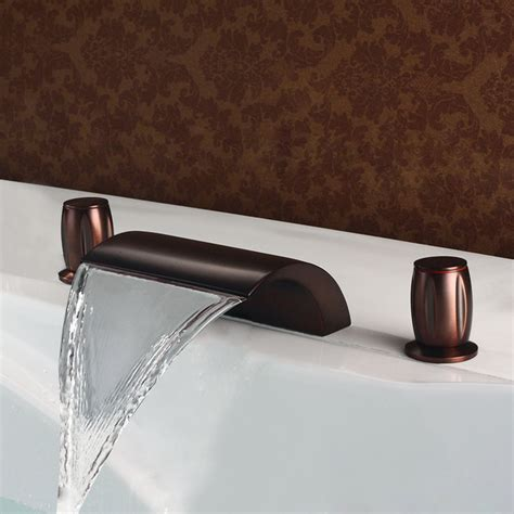 waterfall bathtub faucet rubbed bronze