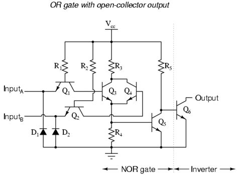 transistor nor gate circuit ttl nor and or gates logic gates electronics textbook