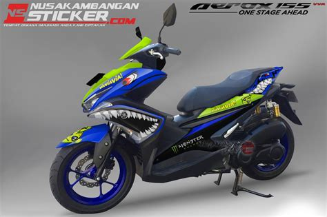 Lu Depan Aerox 155 Original decal sticker aerox 155 shark blue versi2 nusakambangan sticker nusakambangan sticker