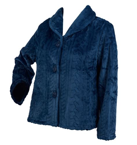 bed jacket ladies slenderella button up soft fleece bed jacket cable