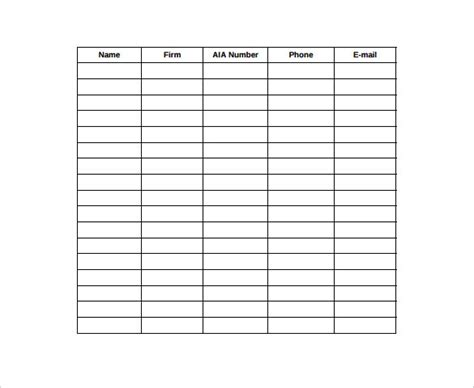 Template For Sign In Sheet Attendance