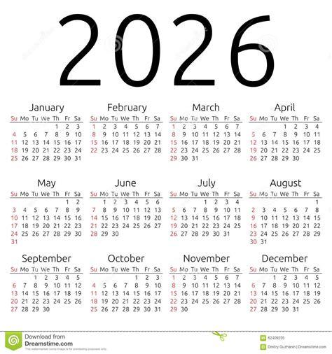 Vector Calendar 2026, Sunday Stock Vector   Image: 62409235