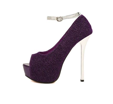 High Heells 14cm high heels 14cm metal heel stiletto wedding shoes pumps large size glitter peep toe shoes
