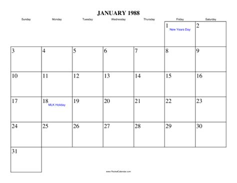new year january 1988 january 1988 calendar