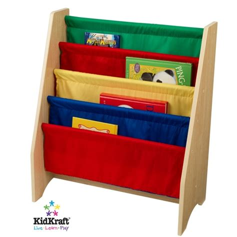 kidkraft primary canvas sling book display bookshelf 14226