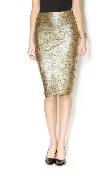 metallic gold pencil skirt from manhattan by