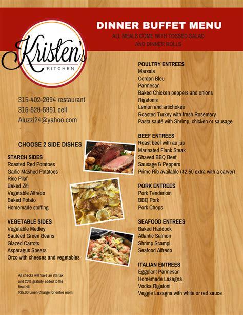 dinner buffet menu