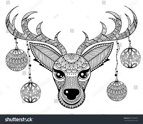 christmas zentangle coloring page zentangle vector reindeer face christmas decoration stock