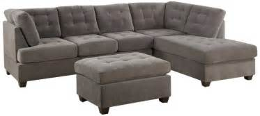 3 discount gray microfiber sectional sofa set with