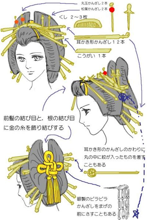 the history of japanese hairstyles oiran hairstyle diagram tutorials pinterest