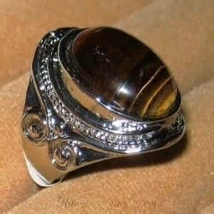 cincin pria model retro vintage berbahan perak ring 18mm dengan ukiran dilengkapi batu tiger eye