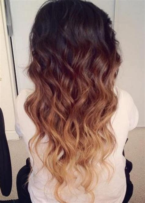 obre dye dip golden medium length hair ombre hair color idea brown to golden blonde wavy dip dye
