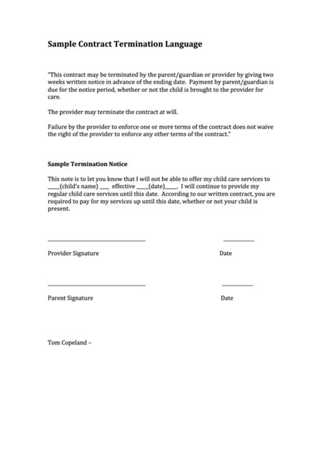 sample contract termination language letter printable
