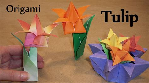 Origami Tulip With Stem - origami tulip leaf and stem