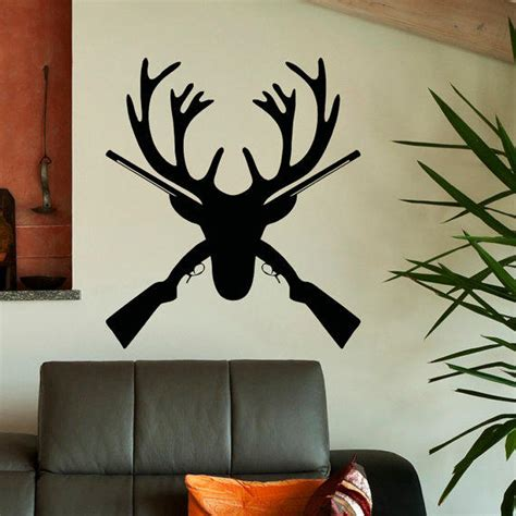 deer wall decor southern decor southern home hunting decor deer antlers wall decal rustic deer from fabwalldecals on etsy