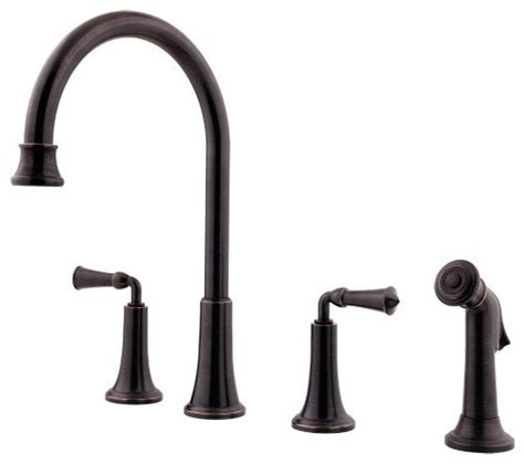 kitchen faucet 4 hole price pfister f 031 4bpy bellport 4 hole double handle