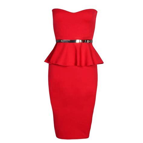 348 1 Dres Peplum Belt womens sleeveless bandeau gold belted peplum bodycon